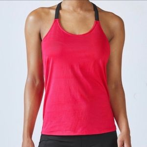 Fabletics Eunice Top Pink Black T-Strap Size Large